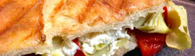 Artichoke, Roasted Pepper, Goat Cheese Panini