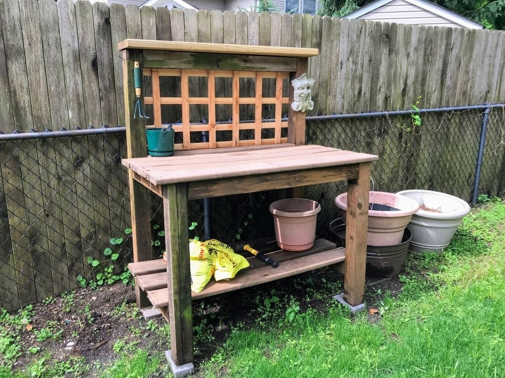 Potting Bench made from recycled lumber
